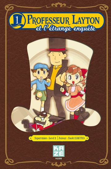 Professeur Layton et l'étrange enquête T1, manga chez Kazé manga de Sakura, Level-5