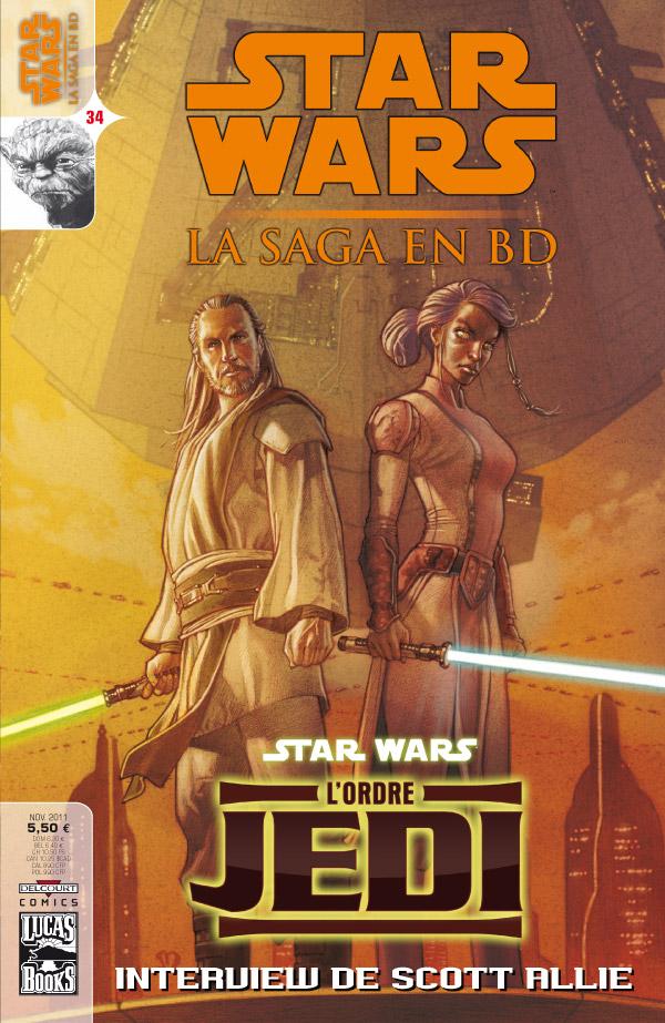 Star Wars (revue) – La saga en BD, T34 : L'ordre Jedi (0), comics chez Delcourt de Gilroy, Chestney, Blackman, Sanchez, Bachs, Murakami, Anderson, Atiyeh, Skinner, Roux