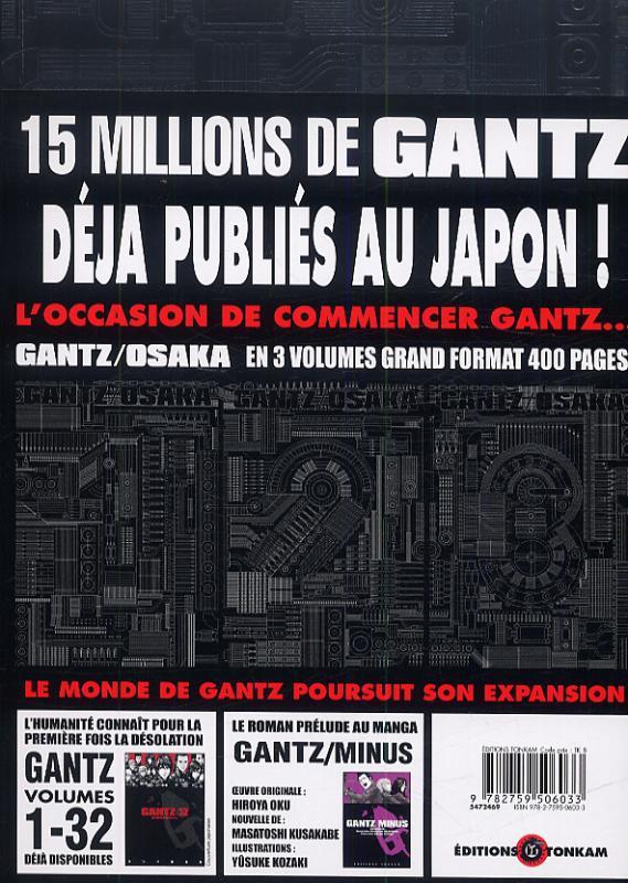 Gantz Osaka T1, manga chez Tonkam de Oku