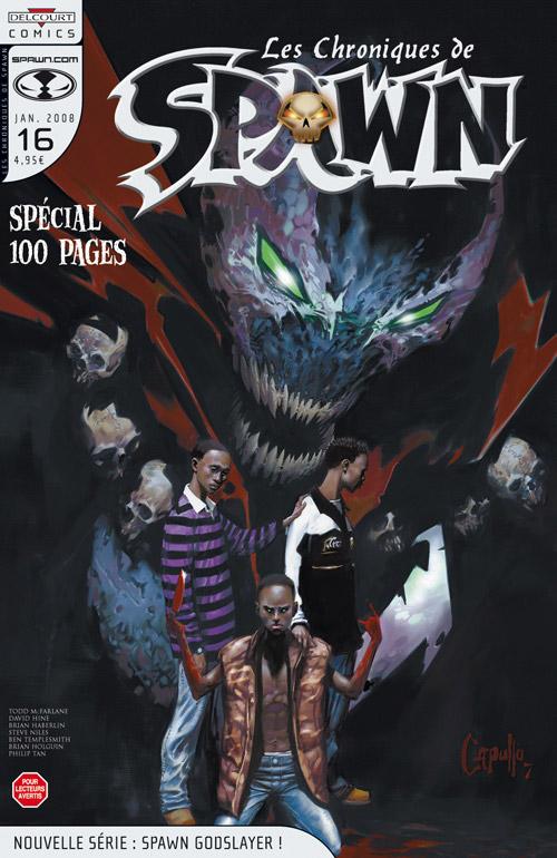 Les chroniques de Spawn T16 : Nouvelle série : Spawn Godslayer ! (0), comics chez Delcourt de Hine, Niles, Holguin, Templesmith, Haberlin, Tan, Troy, Hannin, Capullo