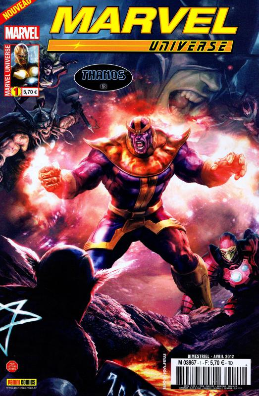 Marvel Universe – V 2, T1 : Thanos (1/2) (0), comics chez Panini Comics de Abnett, Lanning, Borges, Di Vito, Buscema, Walker, Sepulveda, Quintana, Hang, Saito, Ramos, Sotomayor, Briclot