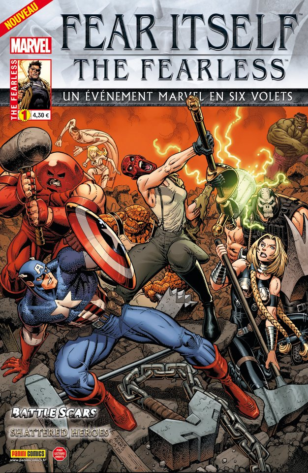 Fear Itself – The Fearless, T1, comics chez Panini Comics de Bunn, Fraction, Yost, Bagley, Eaton, Pelletier, Lanning, Mounts, Wilson, Adams