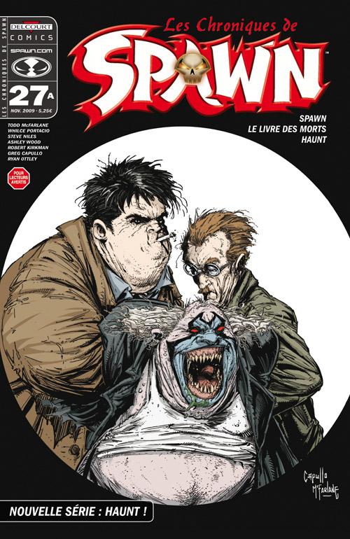 Les chroniques de Spawn T27 : Nouvelle série : Haunt ! (0), comics chez Delcourt de McFarlane, Kirkman, Wood, Capullo, Ottley, Portacio, FCO Plascencia, Fotos