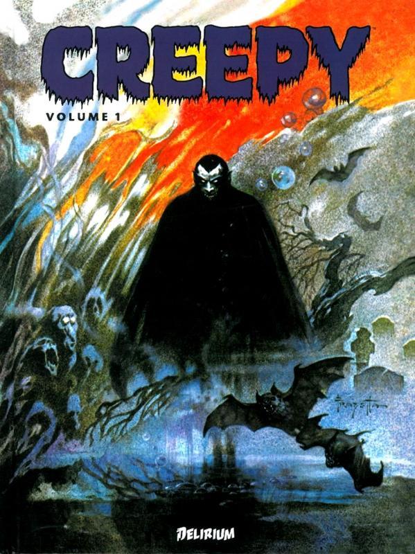 Creepy T1, comics chez Delirium de Goodwin, Pearson, Ivie, Jones, Porges, Binder, Crandall, McWilliams, Toth, Morrow, Severin, Frazetta, Orlando, Krenkel, Williamson, Torres