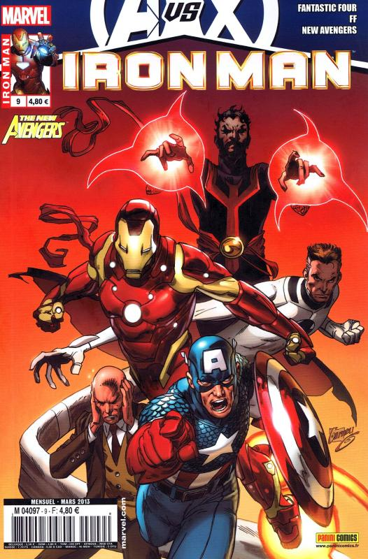 Iron Man (revue) – V 1, T9 : Le futur (0), comics chez Panini Comics de Bendis, Fraction, Hickman, Larroca, Camuncoli, Dragotta, Deodato Jr, d' Armata, Beredo, Mounts, Sotomayor, Garney