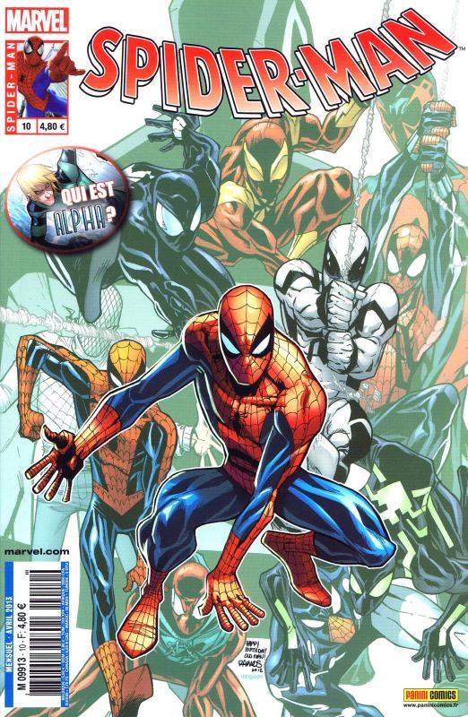 Spider-Man (revue) – V 3, T10 : Alpha (0), comics chez Panini Comics de Yost, Deconnick, Slott, Van Lente, Dodson, Janson, Dodson, Romita Jr, Olazaba, Pham, Palmer, Ramos, Delgado, White, Fabela