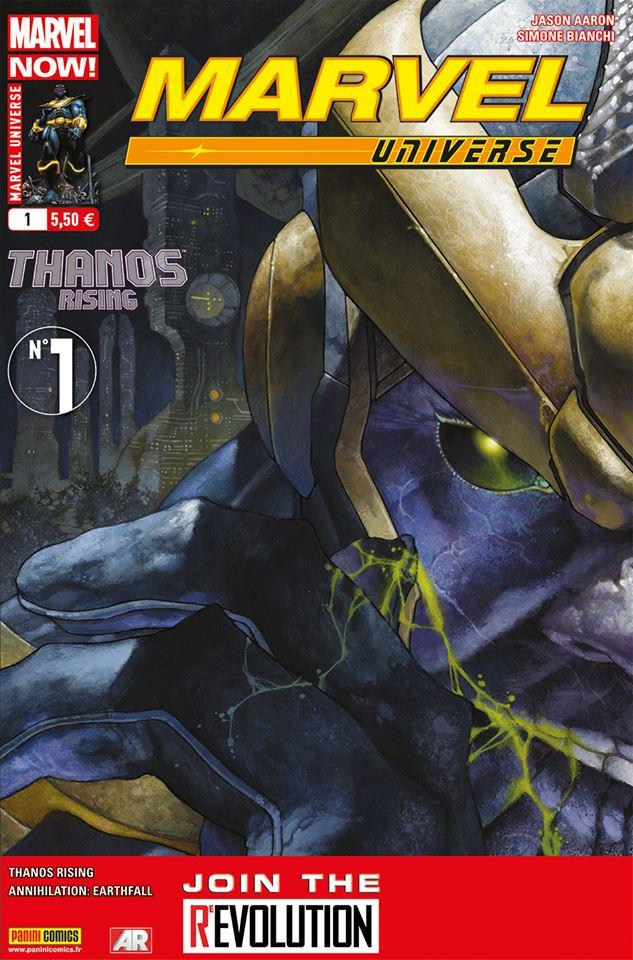 Marvel Universe – V 3, T1 : Marvel Now! - L'ascension de Thanos (0), comics chez Panini Comics de Aaron, Bianchi, Svorcina, Peruzzi