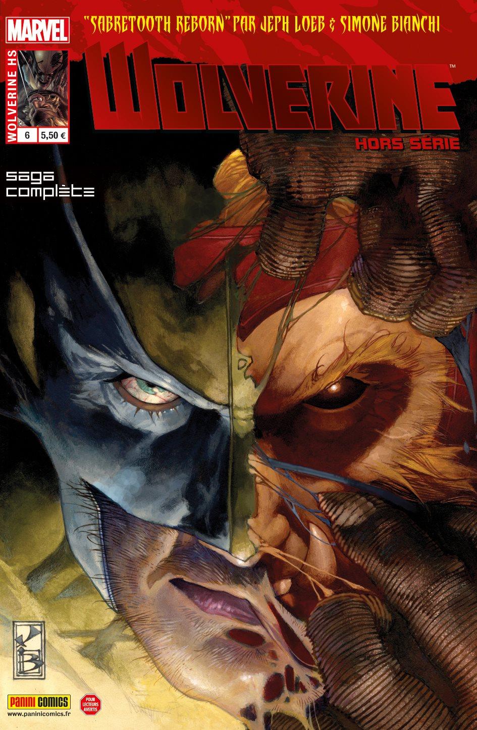 Wolverine (revue) – Hors série, T6 : Dents de Sabre : Renaissance (0), comics chez Panini Comics de Simmons, Loeb, Ryan, Bianchi, Morales, Olazaba, Keith, Peruzzi, Hollowell, Martinez, Guru efx