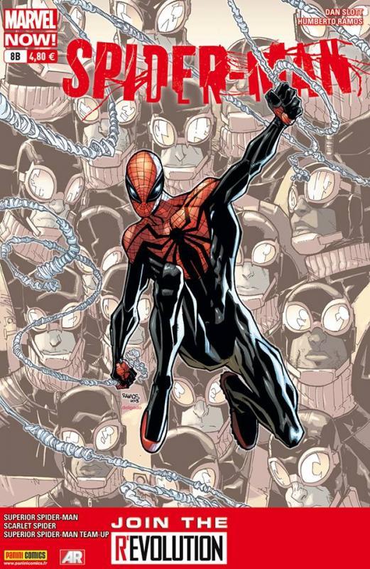 Spider-Man (revue) – V 4, T8 : La fin d'un règne (0), comics chez Panini Comics de Burnham, Slott, Yost, Lopez, Wong, Ramos, Checchetto, Dominguez, Olazaba, Barberi, Pallot, Owens, Delgado, Rosenberg, Fabela, Camuncoli