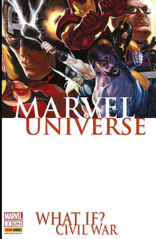 Marvel Universe – V 3, T3 : Civil War (0), comics chez Panini Comics de Brubaker, Grévioux, Gage, Trigo, Djurdjevic, Tolibao, Ramos, Guru efx, Tadeo