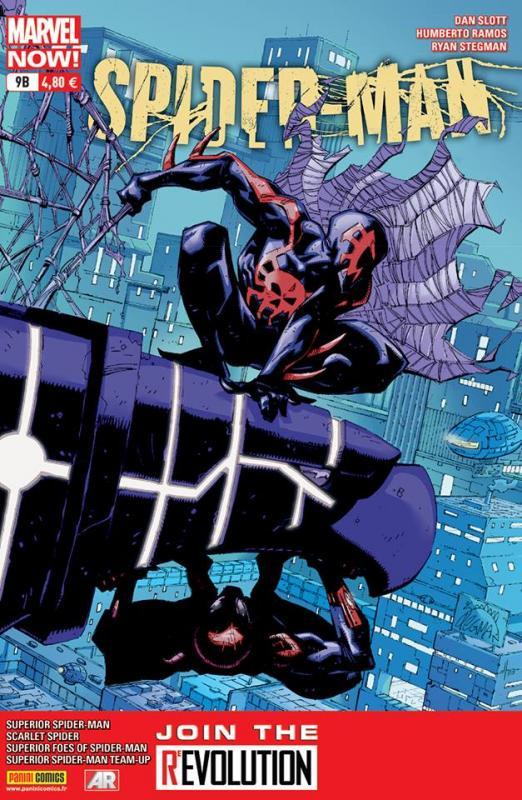 Spider-Man (revue) – V 4, T9 : Un mal nécessaire (0), comics chez Panini Comics de Slott, Yost, Burnham, Spencer, Oliffe, Ramos, Lee, Stegman, Lieber, Vlasco, Olazaba, Livesay, Delgado, Rosenberg, Loughridge, Jones