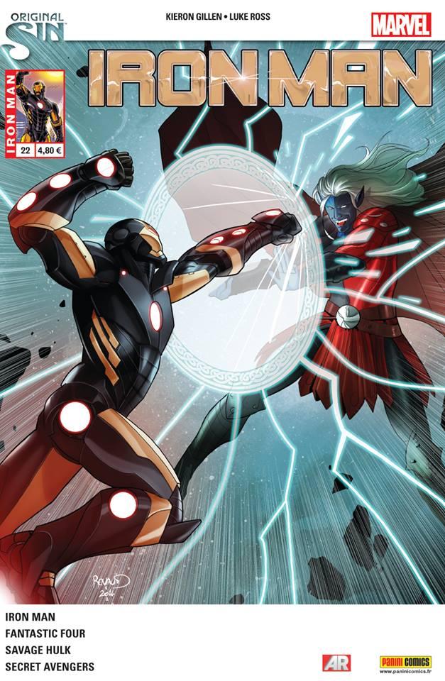 Iron Man (revue) – V 2, T22 : Original Sin (0), comics chez Panini Comics de Kot, Davis, Gillen, Robinson, Bennett, Walsh, Ross, Haspiel, Kirk, Woodard, Guru efx, Hollingsworth, Aburtov, Wilson, Renaud