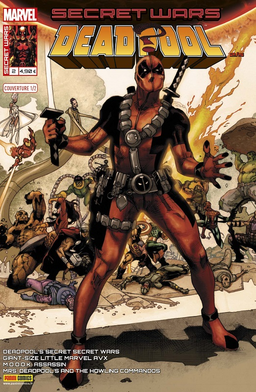 Secret Wars : Deadpool T2 : Conçu pour tuer (0), comics chez Panini Comics de Young, Yost, Duggan, Bunn, Pinna, Lolli, Espin, Redmond, Beaulieu, Staples, Rosenberg, Harris, Bianchi