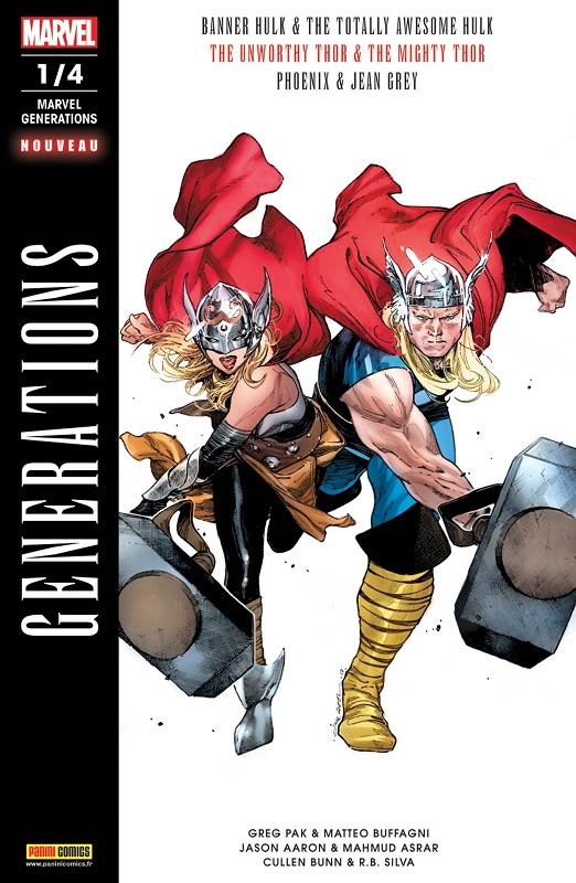 Marvel Generations T1, comics chez Panini Comics de Bunn, Aaron, Pak, Buffagni, Silva, Asrar, Almara, Beredo, Bellaire, Coipel