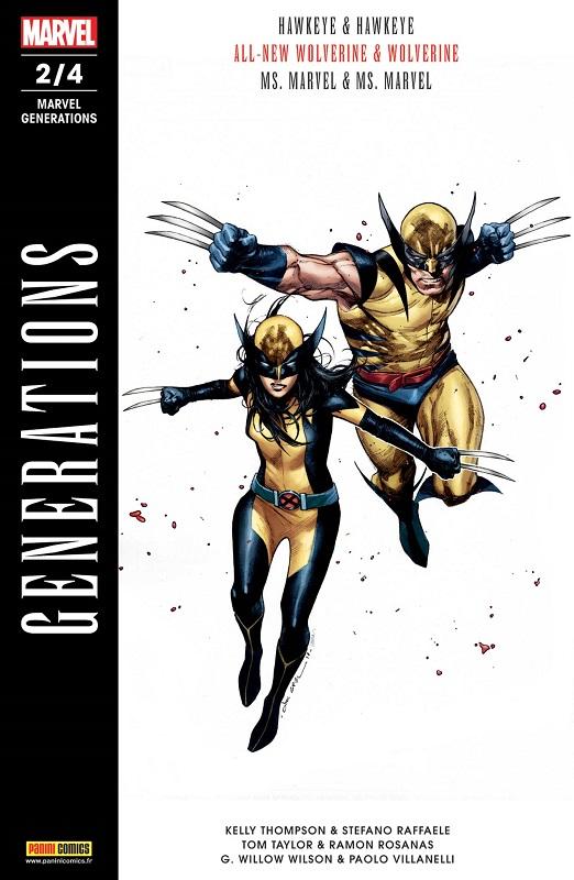 Marvel Generations T2, comics chez Panini Comics de Taylor, Thompson, Wilson, Villanelli, Rosanas, Raffaele, Herring, Digikore studio, Woodard, Coipel