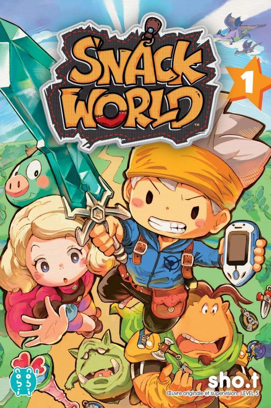 Snack world T1, manga chez Nobi Nobi! de Level-5, SHO.T