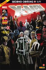 X-Men (revue) – V 2, T1 : Second coming (1/7) - Le retour du messie (0), comics chez Panini Comics de Yost, Wells, Kyle, Carey, Fraction, Dodson, Roberson, Immonen, Land, Finch, Lacombe, Reber, Ponsor, Steigerwald, Acuña
