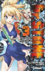 Dr Stone T3, manga chez Glénat de Inagaki, Boichi