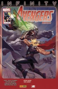 Avengers Universe (revue V1) T13 : Le maudit (0), comics chez Panini Comics de Bunn, Waid, Remender, Aaron, Klein, Jacinto, Scalera, Garney, Sliney, Pacheco, Rosenberg, Svorcina, Janson, Gandini, White, Staples