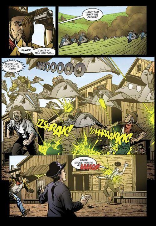Cowboys et envahisseurs, comics chez Emmanuel Proust Editions de Van Lente, Foley, Magic Eye Studio, Lima, Calero, Elder