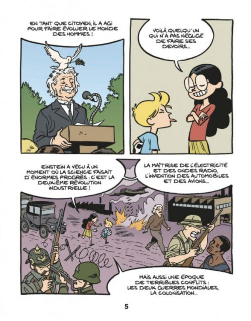 Le Fil de l'Histoire T1 : Albert Einstein (0), bd chez Dupuis de Erre, Savoia