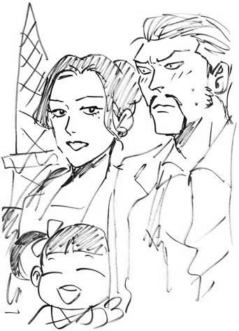 Le yakuza sympa et sa petite famille ont également visité la tour Eiffel